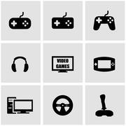 Vector black video games icon set Stock Illustration