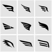 Vector black wing icon set Stock Illustration