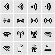 Vector black wireless icon set Stock Illustration