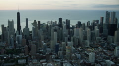 Aerial sunrise cityscape view of Chicago Illinois US Stock Footage