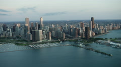 Aerial sunrise view of Navy Pier and marina Chicago USA Stock Footage