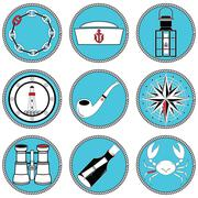 Nautical elements  icons in knotted circle - stock illustration