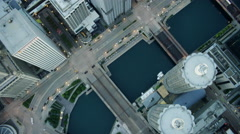 Aerial overhead view of modern skyscraper buildings Chicago Illinois US Stock Footage