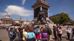 Time lapse of Trafalgar Square Lion Statues Stock Footage