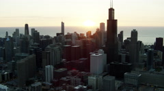 Aerial view at sunrise of Sears Tower Chicago USA Stock Footage