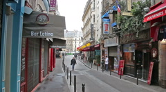 The narrow streets and cozy cafes of the Latin Quarter of Paris. France Stock Footage