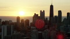 Aerial sunrise silhouette of Chicago city skyscrapers Arkistovideo