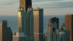Aerial view of Sears Tower Chicago USA at sunrise Stock Footage