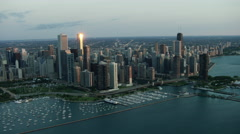 Aerial view at sunrise of boats on Lake Michigan and marina in Chicago USA Stock Footage