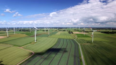 Wind Farm Aerial View Stock Footage
