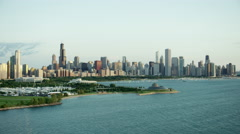 Aerial sunrise view of waterfront skyline Chicago Illinois Stock Footage