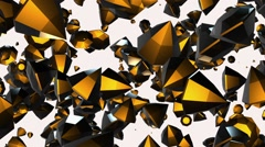 Abstract rotating,flying gems in yellow on white - stock footage
