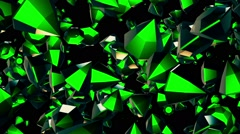 Abstract rotating,flying gems in green on black Stock Footage