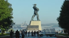 SEVEROMORSK, RUSSIA. Day of the Navy. Alley, the aircraft carrier. Stock Footage