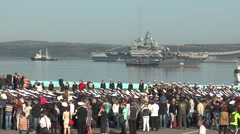 SEVEROMORSK, RUSSIA.  Day of the Navy. Spectators . Stock Footage