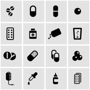 Vector black pills icon set - stock illustration