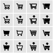 Vector black shopping cart icon set Stock Illustration