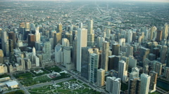 Aerial sunrise view of Chicago USA cityscape and marina Stock Footage