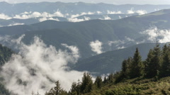 Scenic view of mountain forests covering by fog Stock Footage