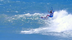 Action Extreme sport video background. Kitesurfing outdoors - stock footage