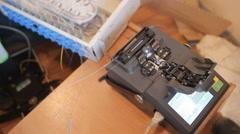 fiber optic cable splice machine - stock footage