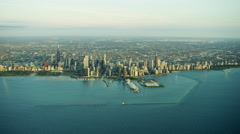 Aerial sunrise view of Chicago USA cityscape and marina - stock footage