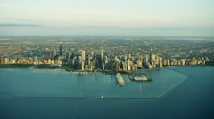 Aerial sunrise view of Chicago city skyline USA - stock footage