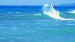 Summer ocean sport video. Active man kitesurfing on sea Stock Footage