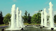 Fountain In The Green Park Of Moscow Stock Footage