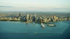 Aerial distant view of Lake Michigan and Chicago city skyscrapers Stock Footage