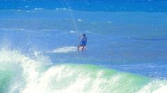 Summer water sort video background. Sportsman riding kite board Stock Footage