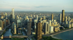 Aerial view of downtown buildings and city freeways Chicago USA - stock footage