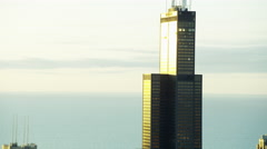 Aerial view at sunrise of Willis Tower Chicago USA Stock Footage