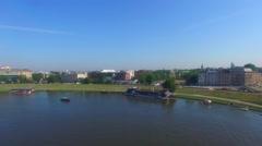Wisla River in Krakow Stock Footage