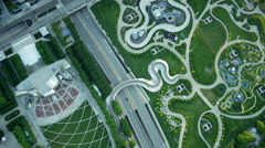 Aerial view of Millennium Park in Chicago Illinois US Stock Footage