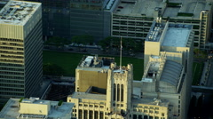 Aerial sunrise view of Tribune Tower Chicago Illinois US Stock Footage