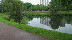 People running in the park around the lake - stock footage