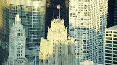 Aerial view of flagpole on Tribune Tower Chicago city USA Stock Footage