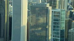 Aerial view of modern downtown skyscrapers Chicago Illinois US Stock Footage