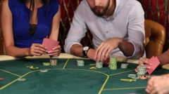 People Make Bets in Casino Stock Footage
