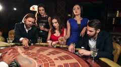 People Placing Their Bets on the Blackjack Table Stock Footage