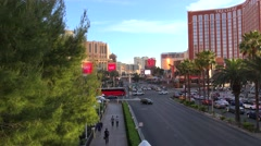 Road Traffic at Las Vegas Strip (Treasure Island side from the Fashion Mall) Stock Footage