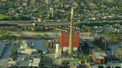 Aerial view of industrial areas outside Chicago City USA Stock Footage