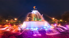 Time Lapse Mickey Mouse Colorful Fountain Of Hong Kong Disneyland (loop play) Stock Footage