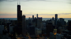 Aerial sunrise silhouette view of Chicago city skyline USA Arkistovideo