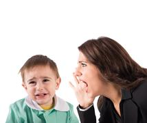 Scold a child - stock photo