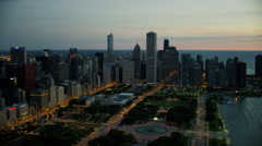 Aerial sunrise view of Lake Michigan and city of Chicago Stock Footage