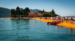 Floating Piers to Isola di San Paolo - stock photo