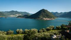 Lake Iseo Floating Piers general view Stock Photos