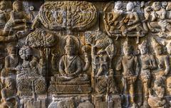 Bas-relief in Borobudur Buddist Temple - island Java Indonesia - stock photo